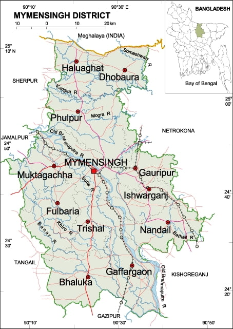 Distrito de Mymensingh, con Dhobaura y Bhaluka